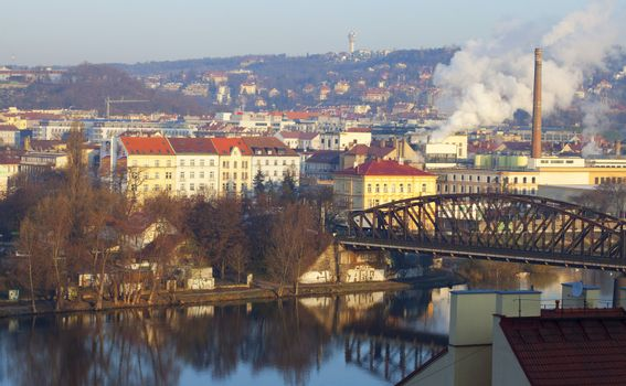 morning view of the Vltava River in Prague