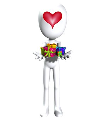Faceless figure holding out a load of valentines day gifts.