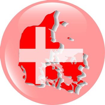 Three dimensional map of Denmark in Danish flag colors.