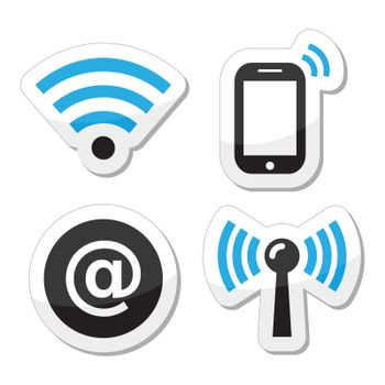 Black and blue labels - wireless internet, internet cafe