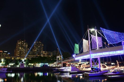 Beams of light for the art installation called Pulse Front in Toronto.