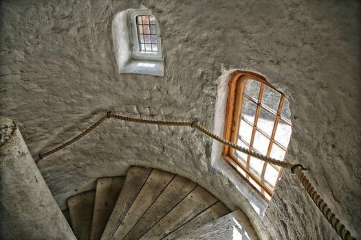 Tower staircase of the royal castle Koldinghus, Kolding, Denmark.