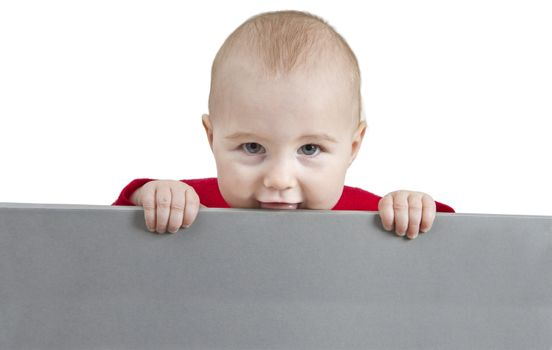 young child holding sign. isolate on white background