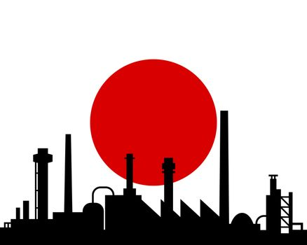 Industry and flag of Japan