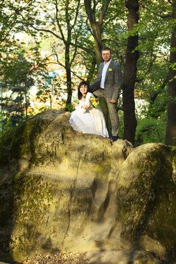 just married on the nature