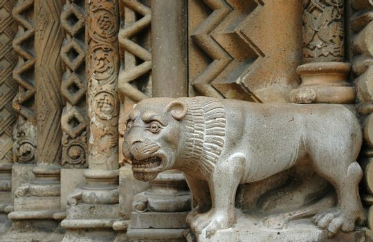 Stone lion in Budapest