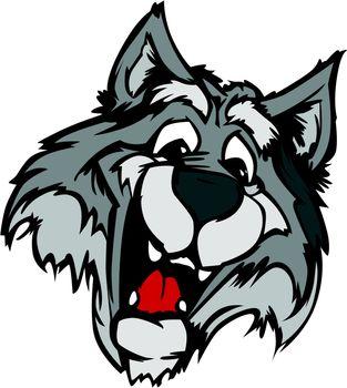 Smiling Cartoon Wolf Mascot Vector Graphic