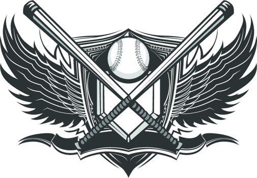 Baseball Softball Bats Ornate Graphic Vector Template