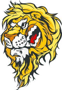 Lion Head Cartoon Mascot Illustration