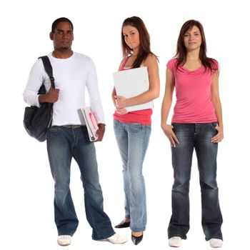 Three attractive students standing next to each other in front of a plain white background.
