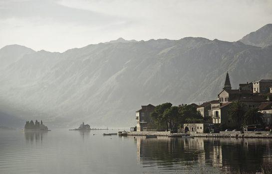 perast village by kotor bay in montenegro