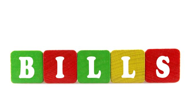 bills - isolated text in wooden building blocks