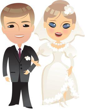 wedding bride and groom cartoon