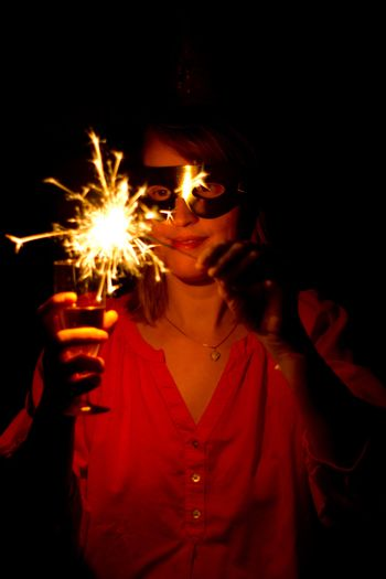 Woman with sparkler