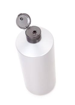 Plastic bottle of shampoo isolated on white.
