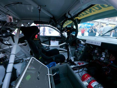 DUBAI - JANUARY 13: Interior of race car before start of the 2012 Dunlop 24 Hour Race at Dubai Autodrome on January 13, 2012.