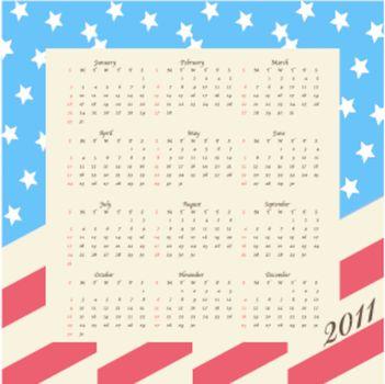 2011 calendar with the american flag