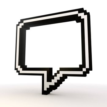 3D graphic  Speech  balloon symbol in a stylish white background