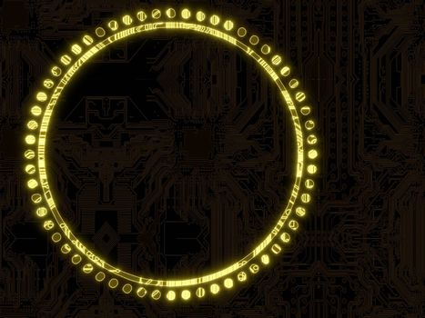 3d graphic illuminated electronic circle symbol on a computer chip