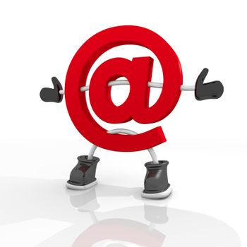 3D graphic Candy red email  symbol in a stylish white background