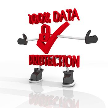3D graphic  100 percent  data protection symbol in a stylish white background