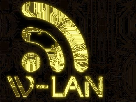 3D Graphic Steel blue flare computer w-lan symbol in a dark background on a computer chip