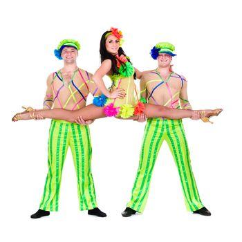 acrobat carnival dancers doing splits against isolated white background