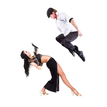 young gangster man dancing with girl.  Isolated on white background in full body.