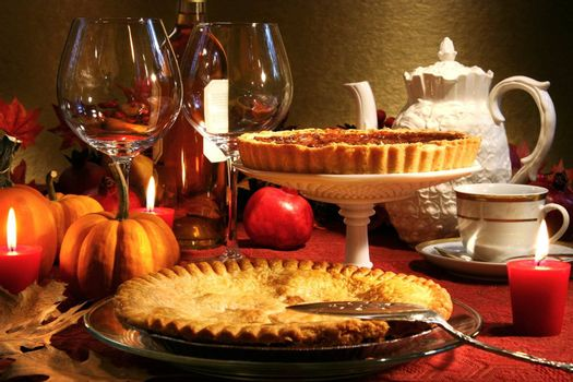 Thanksgiving desserts on a festive table