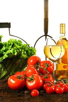 Fresh tomatoes, lettuce and wine on garden soil