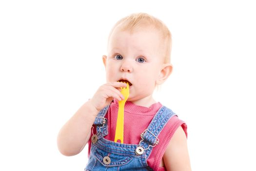 small girl with fork