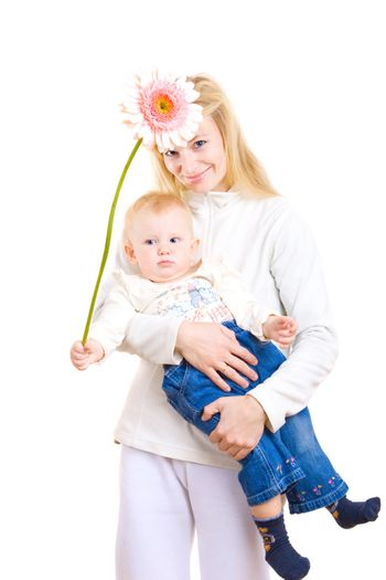 mum and daughter with big flower