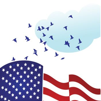 american flag with stars turn into birds