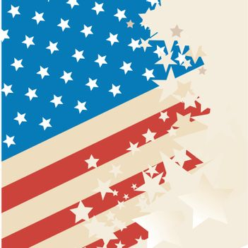 american flag with grunge stars