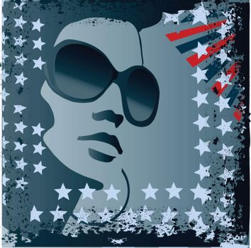 grunge stylized american flag and woman with sunglasses