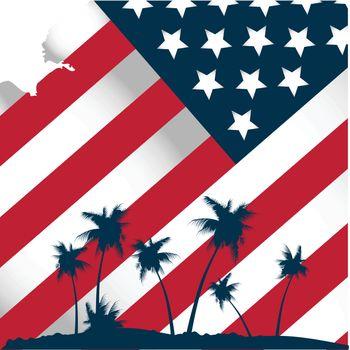 american flag stylised tropical