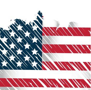 american flag with grunge rain