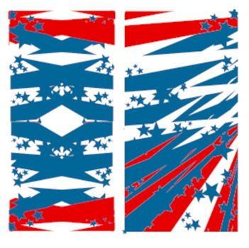 2 stylized american flag banners