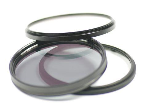 Three Telephoto Lens isolated on white background