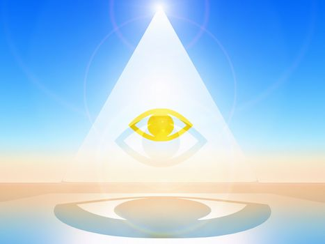 a golden eye in a white pyramid