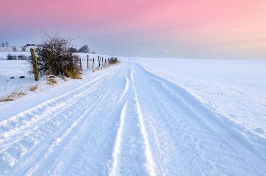 winter landscape and colored sky