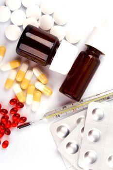 different pills closeup
