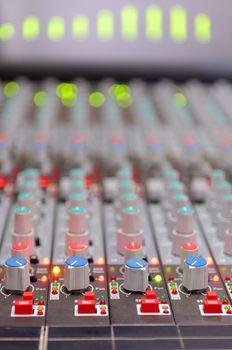 closeup on a mixing desk