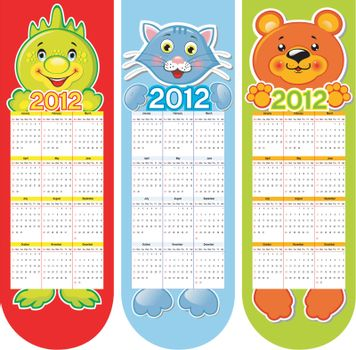Boolmarks witn cute animals and calendar 2012