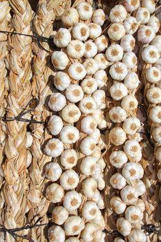 garlic bundles strings food texture background