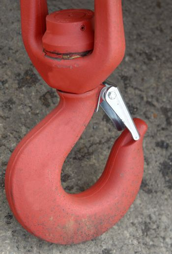 a red industriel hook