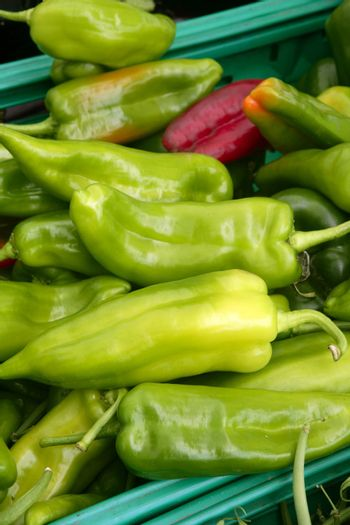 Green pepper texture in the marketplace