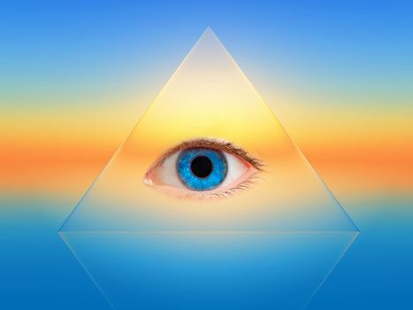 a blue eye in a transparent pyramid