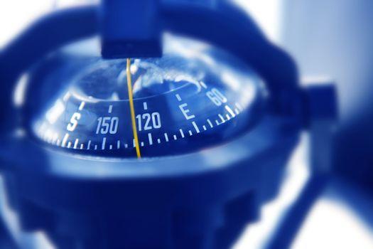 boat marine compass in black blue light backlight