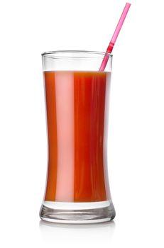 Tomato juice and straw